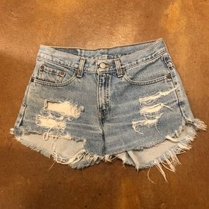 Levi's 505 Distressed High Waisted Shorts